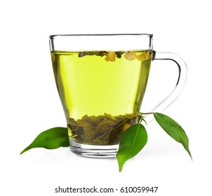 Cup of tea  and green leaves isolated on white