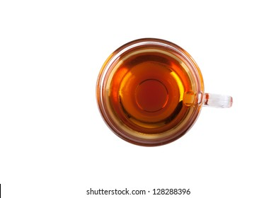Cup of tea isolated on white, top view