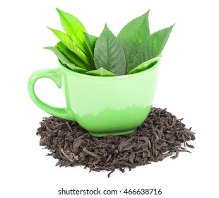Cup with tea leaves