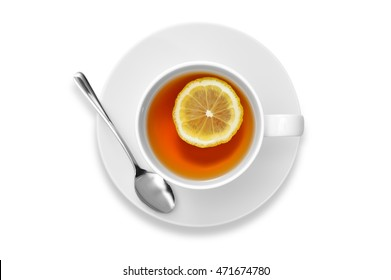 Cup of tea with lemon isolated on white background