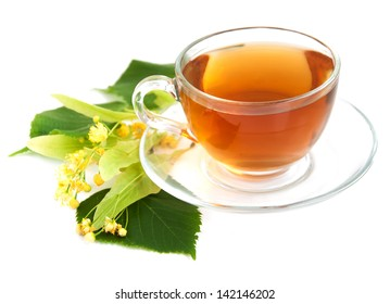 cup of tea and linden flowers on a white  background