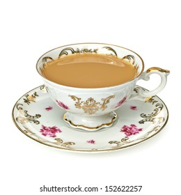 Cup of tea with milk / Milk tea or coffee with milk in cup with clipping path