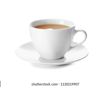 Cup of tea with milk on white background