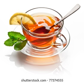 Cup tea with mint isolated on a white background.
