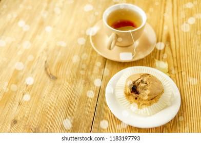 Cup of tea at morning sunshine near window