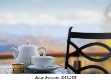 Cup of tea with a mountain view