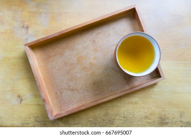 cup of tea on wooden plate