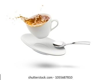 cup of tea with saucer flying and splashing, on white background