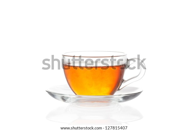 Cup of tea with saucer isolated on white background