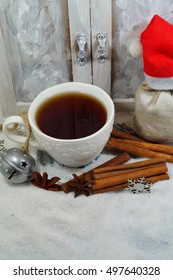 Cup of tea with spices in winter