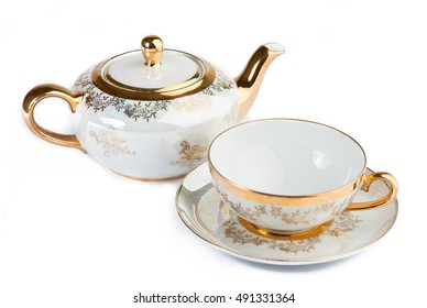 Cup and teapot from porcelain for tea