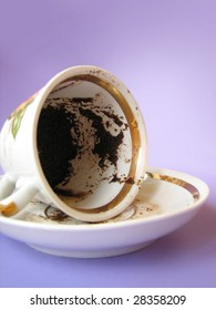 A cup of Turkish coffee, traditionally using for fortune telling