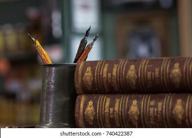Cup of vintage pens