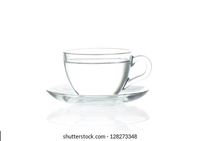 Cup with water isolated on white background
