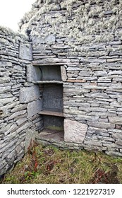 Cupboard built into the wall of an old ruined croft house on Bressay, Shetland, Scotland, UK.