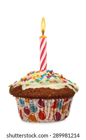 cupcake with birthday candle isolated on white