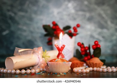 cupcake with a candle holiday