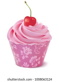 Cupcake with cherry. Realistic 3d illustration