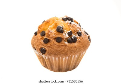 cupcake with chocolate drops isolated on white background