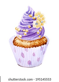 Cupcake with colorful shavings and cream decoration. Hand drawn watercolor painting on white background. Vintage style.