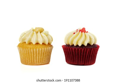 Cupcake with cream on the white background
