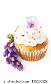 cupcake decorated with cream and flower isolated on a white background