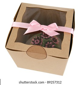 Cupcake with Fondant Flowers in a Gift Shop Box with Pink Ribbon Trim