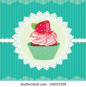 cupcake frame strawberry and background