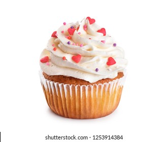 Cupcake isolated on white background. With clipping path.