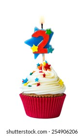 Cupcake with number two candle