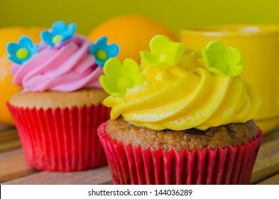 Cupcake on wood table