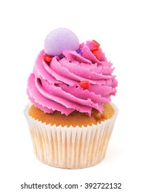 cupcake with pink buttercream isolated on white