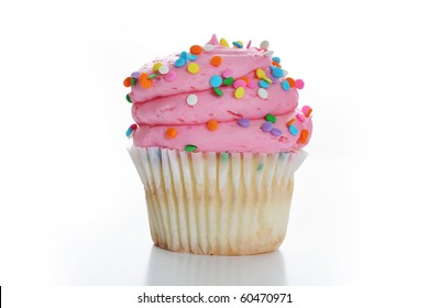 Cupcake with pink frosting and sprinkles