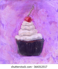 CupCake with whipped cream and a cherry , vanilla frosted cake charlotte  dessert  oil painting