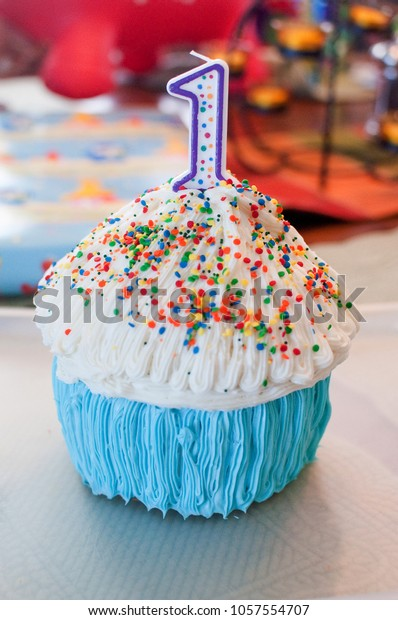 Cupcake White Icing Rainbow Sprinkles Polka Stock Photo