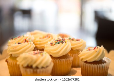 Cupcakes with colourful chips