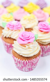Cupcakes or cup cakes with icing or frosting, pink, purple, yellow and cream with green leaves, rose and floral decorations photographed on a white background