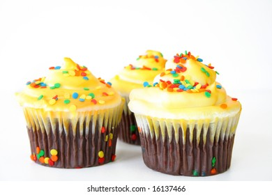 Cupcakes isolated on a white background.