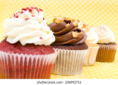 Cupcakes on yellow background