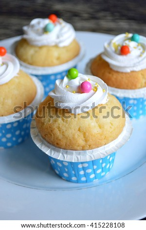 Cupcakes Paper Cups Blue White Polka Stock Photo Edit Now