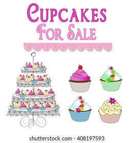 Cupcakes for sale graphics.Bakeshop items pink, green, yellow and blue.