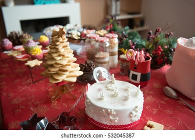 Cupcakes, sweets, cakes and candies in Christmas