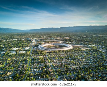 Cupertino CA USA April 23, 2017: Aerial photo of Apple new campus building