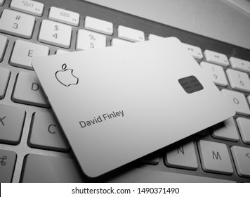 Cupertino, CA / USA - August 27 2019: Physical Apple Mastercard Credit Card backed by Goldman Sachs on an Apple keyboard.