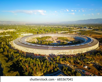 apple cupertino office. Cupertino CA USA July 21, 2017: Aerial Photo Of Apple New Campus Building Office