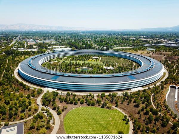 Cupertino, CA / USA - June 25, 2018: Aerial photo of Apple Headquarters, Apple Park