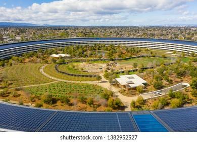 CUPERTINO, CA, USA - MARCH 15, 2019: Aerial photo Apple Park Spaceship corporate headquarters California