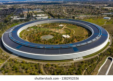 CUPERTINO, CA, USA - MARCH 15, 2019: Aerial photo Apple Park Spaceship corporate headquarters California