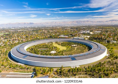 Cupertino, CA / USA - November 4, 2018: New Apple park offices located in Silicon Valley, South San Francisco Bay Area