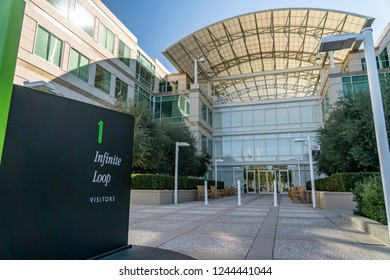Cupertino, CA / USA - OCTOBER 16, 2018: Facade of the one  infinite loop, The Apple Campus was the corporate headquarters of Apple Inc. from 1993 until 2017.
